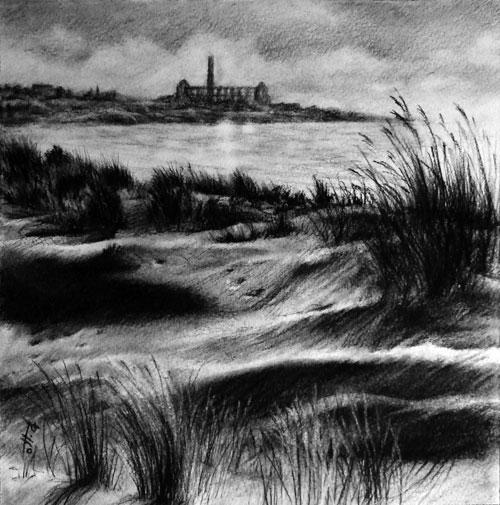 Dune sicule - carboncino su carta