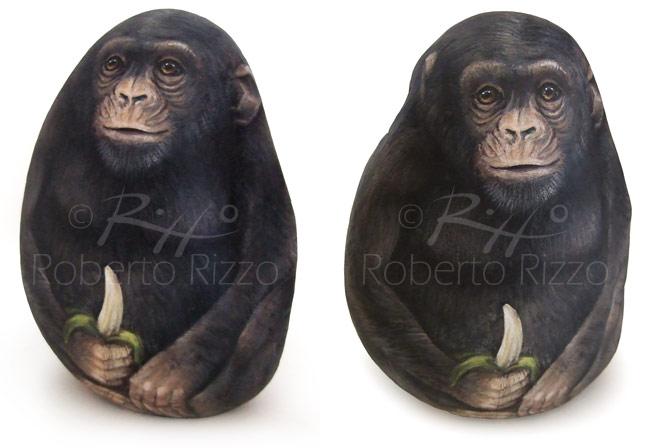 Sassi dipinti - scimpanzé