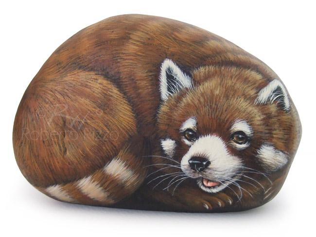Sassi dipinti - panda minore