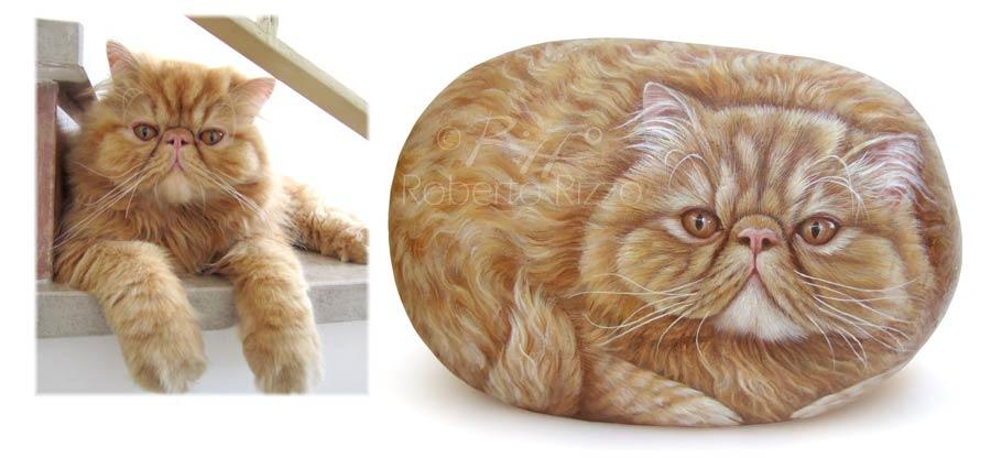 Sassi dipinti - ritratto di gatto persiano