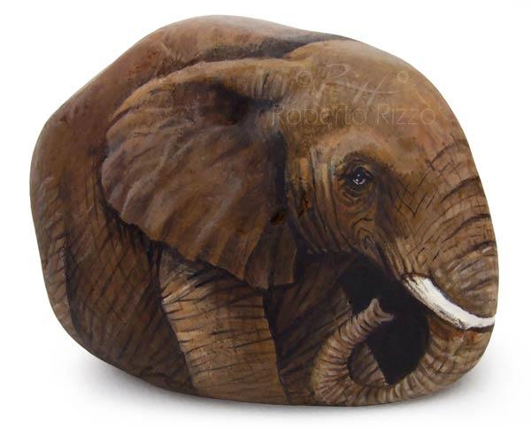 Pietre dipinte - elefante africano