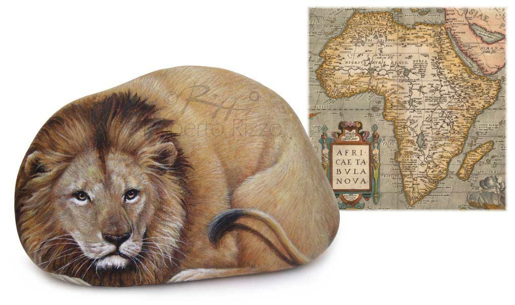 Leone dipinto ad acrilico su pietra