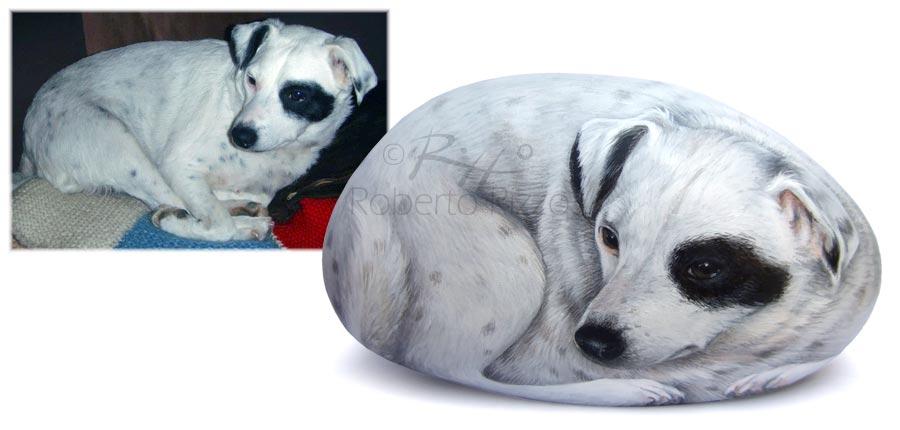 Cani dipinti sui sassi - ritratto di Ariel