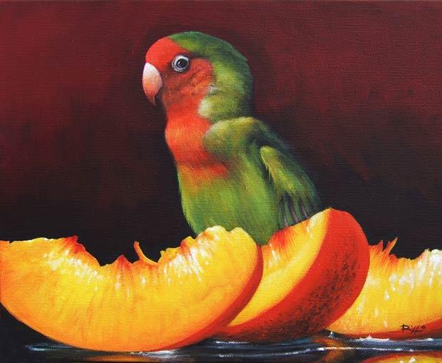 Animali dipinti - pappagallo dipinto su tela