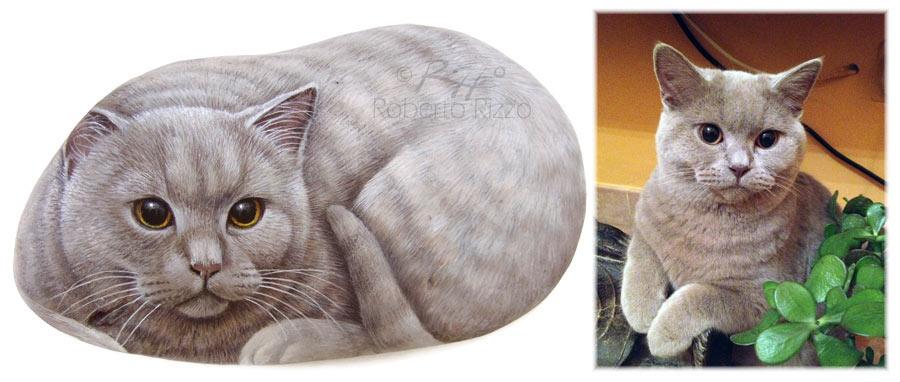 Ritratti di gatti su pietra
