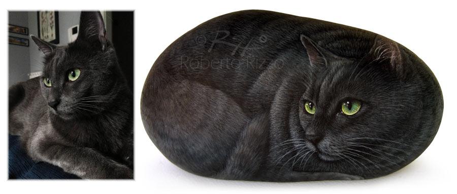 Gatti dipinti sui sassi