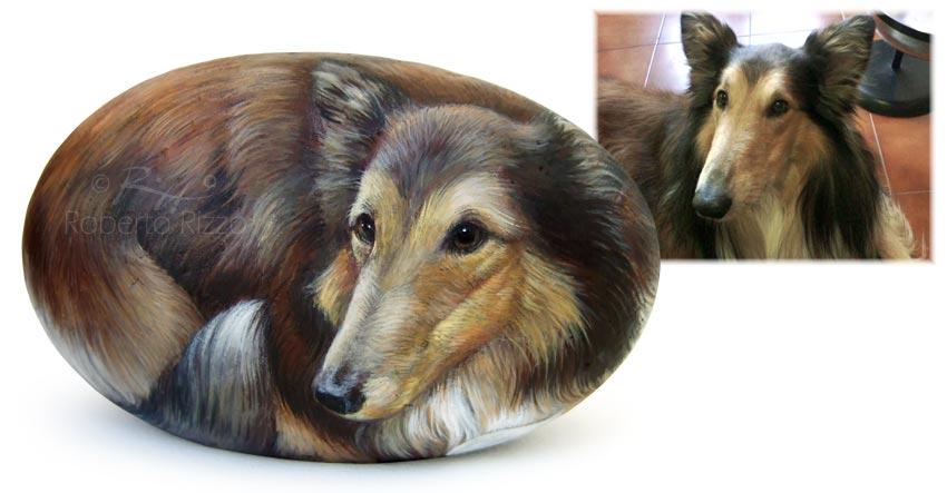 Sassi dipinti cani