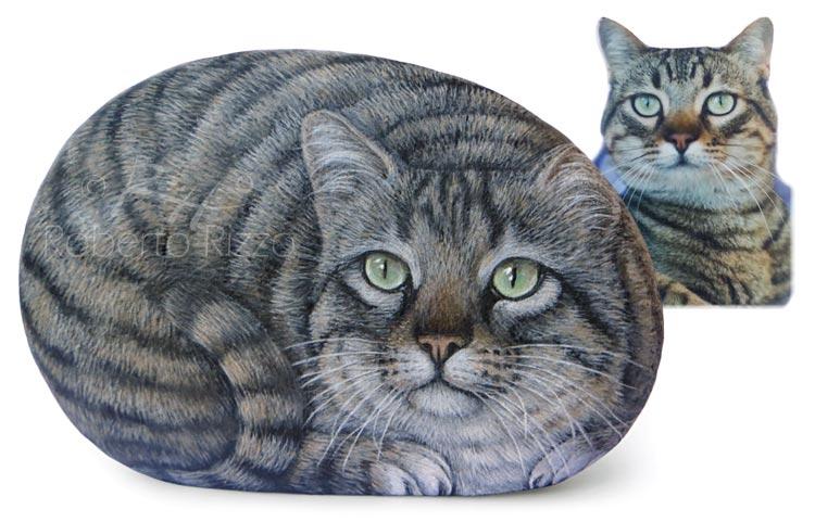 Sassi dipinti con gatti