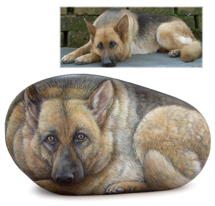 Ritratti di cani su pietra