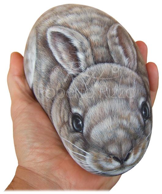 Conigli dipinti sui sassi