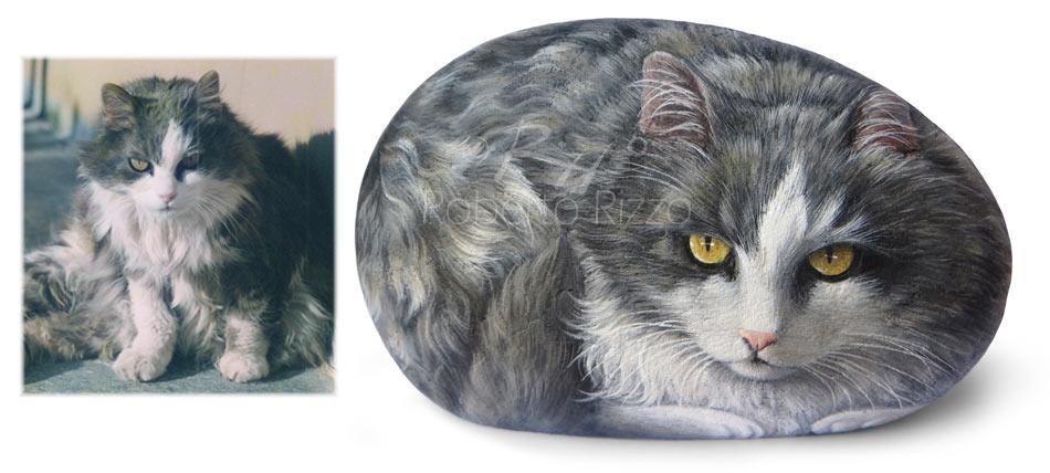 Sassi dipinti gatti | Ritratti su commissione