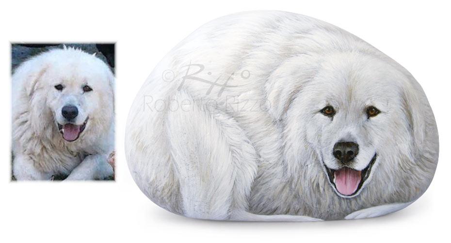 Sassi dipinti con cani