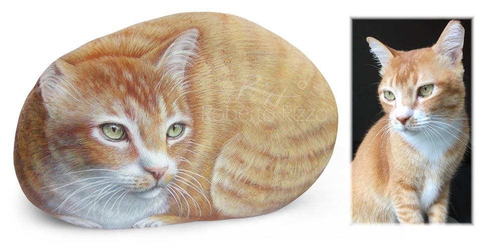 Sassi dipinti con gatti - Bacchus