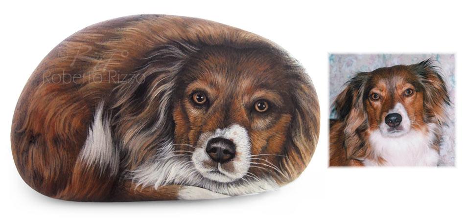 Sassi dipinti con cani - ritratto di Kikka