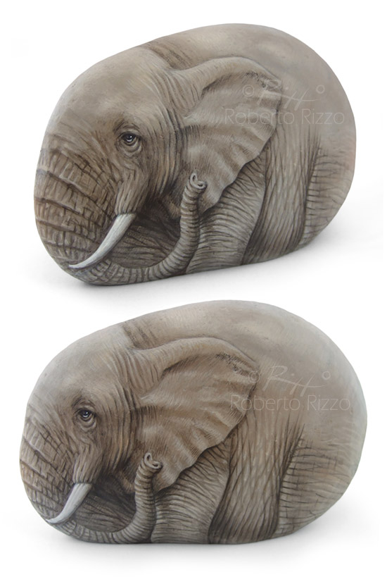 Elefante dipinto su pietra