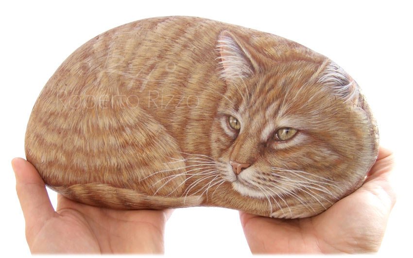 Sassi dipinti con gatti - Yuri