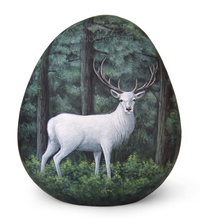 Dipinti sulle pietre - cervo bianco