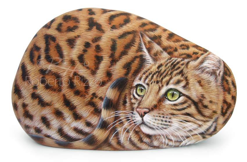 Gatti dipinti sulle pietre - gatto del Bengala