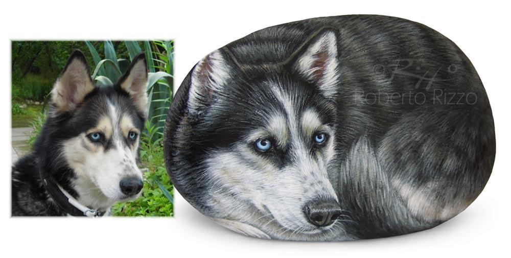 Sassi dipinti cani - ritratto di Kristal