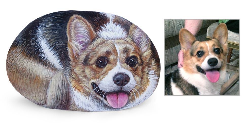 Sasso dipinto con cane Corgi