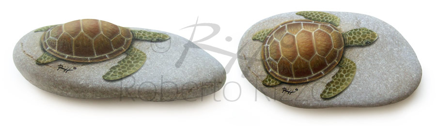 Testuggine marina - acrilico su pietra - cm. 15