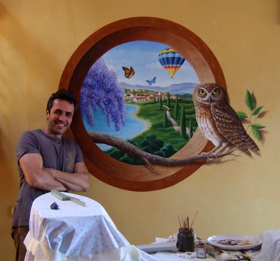 Trompe l'Oeil su parete - cm. 150 x 150