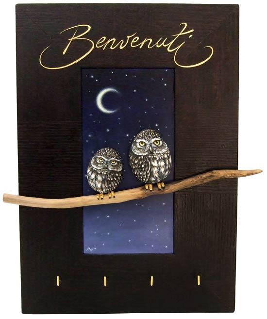 Spicchio di luna - acrilico, legno, masonite, pietra - cm. 25 x 35