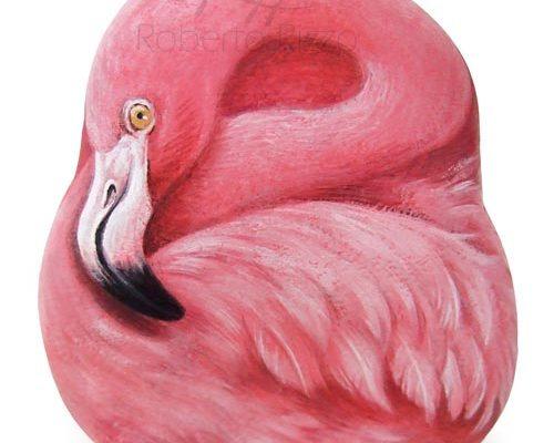 Fenicottero Rosa Dipinto Su Pietra
