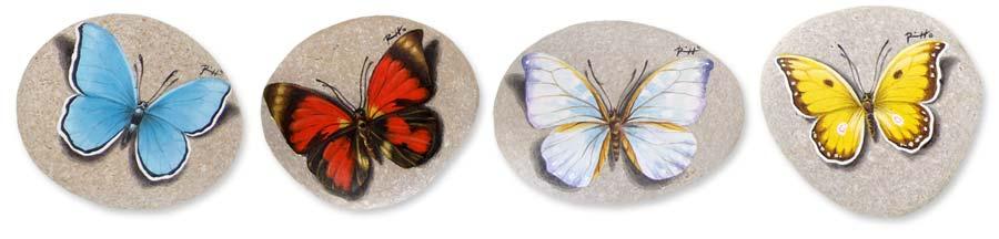 Farfalle - acrilico su pietre - cm. 6 (cad.)