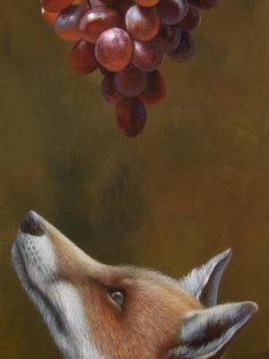 Dipinti Animali - La Volpe E L'uva