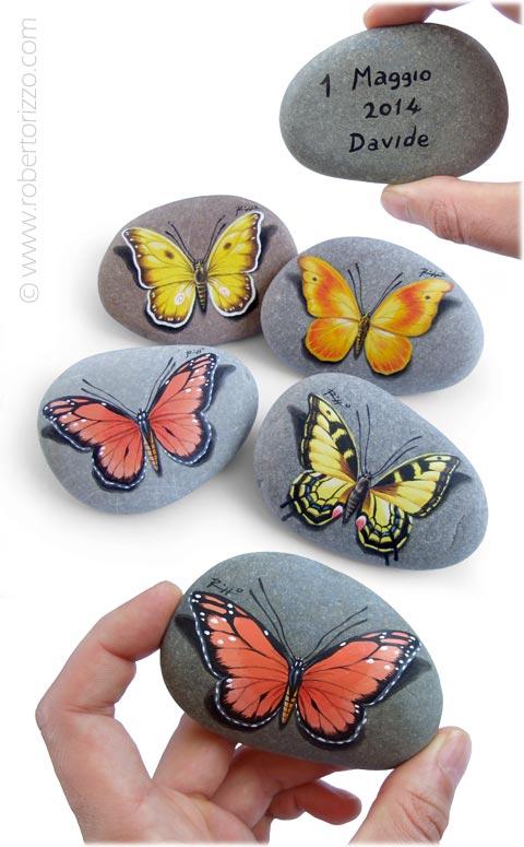 Farfalle varie - acrilico su pietre - cm. 7 (cad.)