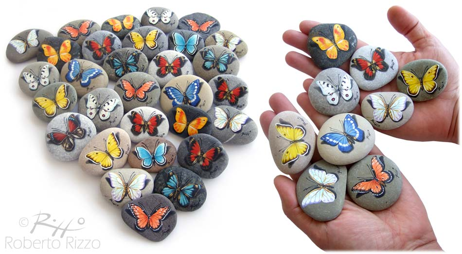 Farfalle miste - acrilico su pietre - cm. 5 (cad.)