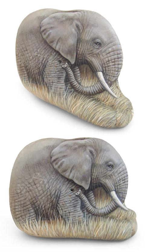 Elefante africano - acrilico su pietra - cm. 12