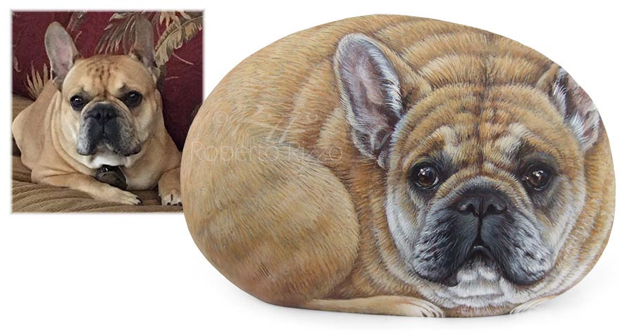 Cane dipinto su pietra