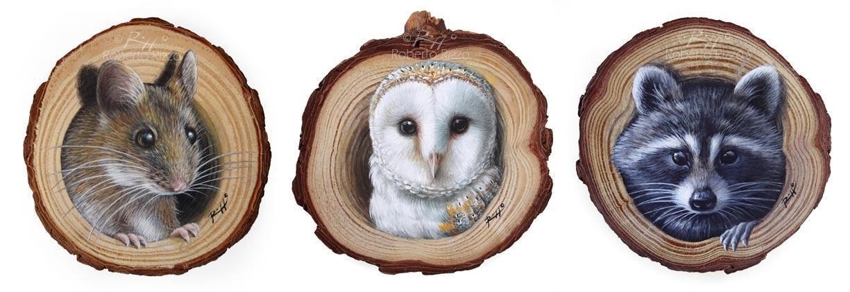 Animali dipinti su legno