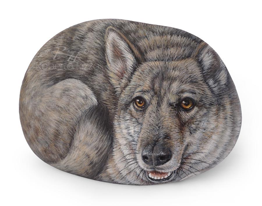 Cane lupo dipinto su sasso