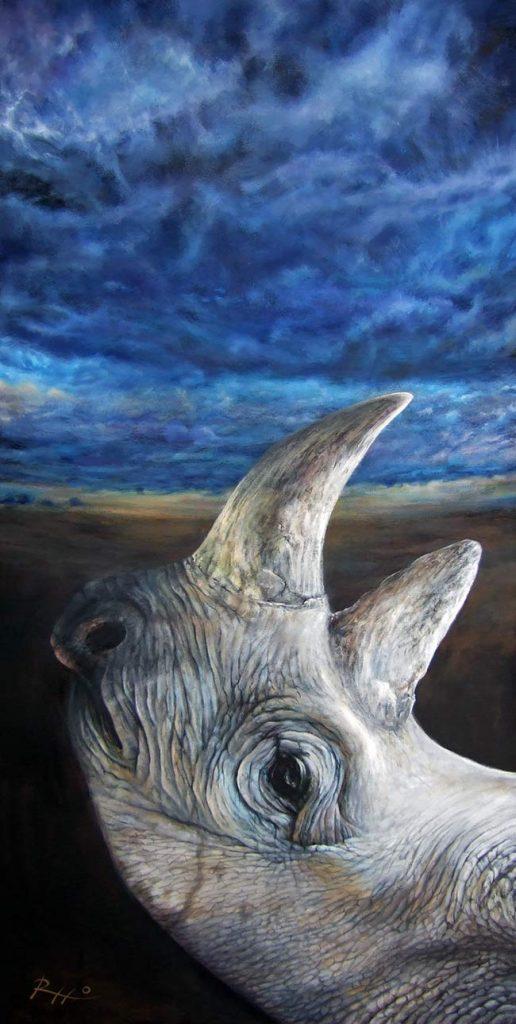 L'ultimo rinoceronte - acrilico su tela - cm. 60 x 120