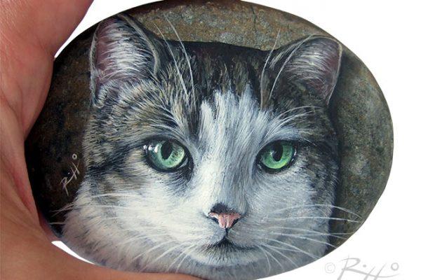 Gatto Dipinto Su Ciottolo