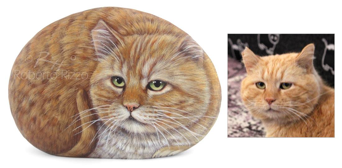 Ritratto di gatto su sasso