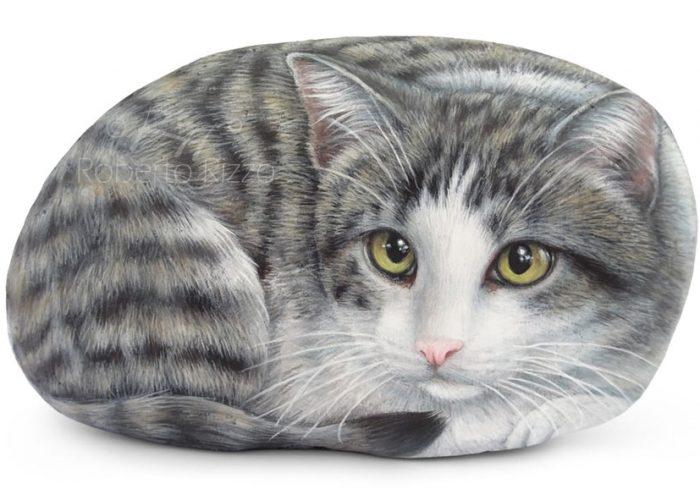 Sasso Dipinto Con Gatto